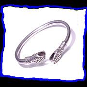 Sterling Silver Serpent Snake Bypass Bracelet