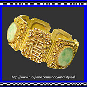 SALE Art Deco Period Chinese Export Prosperity Longevity Jadeite Jade Crane Button Silver Fili
