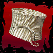 SOLD John Hardy Wide Sterling Silver Bracelet Woven Mesh with Dagger-Style Twisted Cornicello