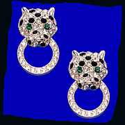 SALE Kenneth J Lane KJL Stunning Rhinestone Panther Doorknocker Earrings