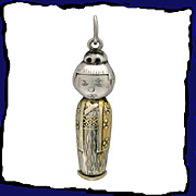 ORIENTAL DOLL Exceptional and Eclectic 950 Silver Charm or Pendant