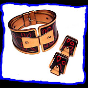 SALE Matisse Abstract Mid Century Modern Enameled Copper Bracelet and Earrings