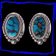 SALE FRANCES Navajo Sterling Silver Bisbee Turquoise Earrings