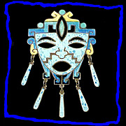 JOSE FREDERICO Stunning Margot de Taxco Style Enamel Sterling Silver Mask Pin
