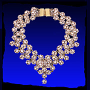 SALE Regal Vintage Swarovski Crystal Ball Bead Bib Necklace