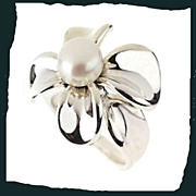 ANN KING Sterling Silver Orchid Ring with Cultured Pearl Accent