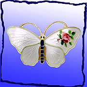 Stunning Scandinavian Iridescent White Enamel and Gilt Sterling Silver Butterfly Pin with Hand