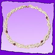 SALE Elegant Delicate Dual Strand Keshi Pearl 14K Gold Amethyst Necklace - Wedding Jewelry