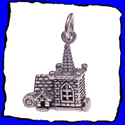 SALE Sterling Silver Wedding Chapel Charm with Couple Exchanging Vows 3D Mechanical