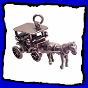 SALE Horse Drawn Carriage Charm Sterling Silver Large 3D Exceptional Detailing