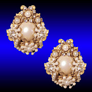 SALE Regal Miriam Haskell Style Floral Bouquet Rose Montee Seed Pearl Earrings