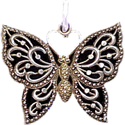 SALE Large Sterling Silver and 10K Gold Filigree Butterfly Charm or Pendant
