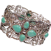 SALE Chinese Turquoise Sterling Silver Arabesque Bracelet