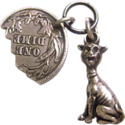 Vintage Cat and Coin Good Luck Sterling Silver Charm