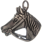 Vintage 835 European Silver Bridled Horse Charm