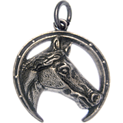 Vintage Sterling Silver Horse and Horseshoe Good Luck Charm