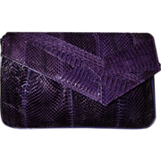SALE J RENEE Vintage Purple Snakeskin Shoulder Bag Clutch