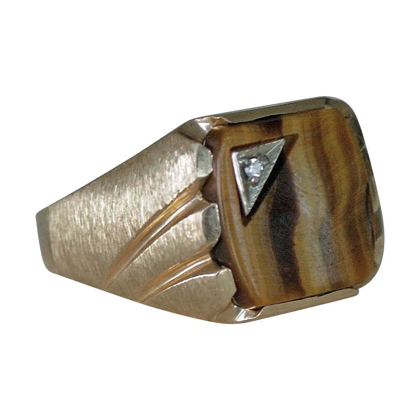 Magnificent Tiger Eye 10K Yellow Gold Ring with Diamond