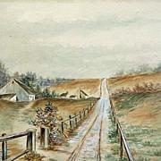 Antique Watercolor Painting Farm Landscape Rolling Hills Bell