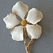 SALE White Dogwood Flower Pin Brooch