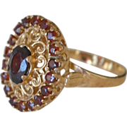 Oval Garnet 10K Yellow Gold Ring