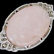 Sterling Rose Quartz Brooch Marcasite