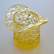 Amber Yellow Glass Top Hat Toothpick Holder