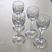 SALE Four Crystal Glass Cordial Glasses