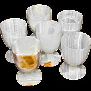 SALE Six Onyx Stone Goblets Liqueur Cordial