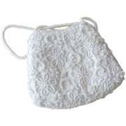 Regale White Beaded Hand or Evening Bag Purse