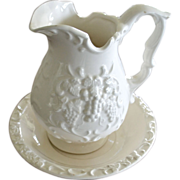 Wash Basin and Pitcher White Grape Pattern