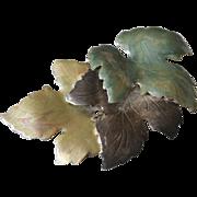 SALE Large Enamel Leaf Pin Brooch