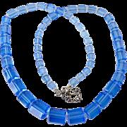 Blue Deco Glass Bead Necklace