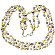 Bone and Amethyst Three Strand Necklace