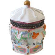 Tiny Porcelain Trinket or Pill Box with Carousel Horses