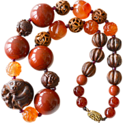 Chinese Huge Carnelian and Wood Animal Bead Necklace