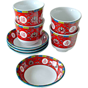 SALE Red Oriental Tea Cups and Saucers