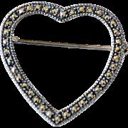 Marcasite Heart Pin Brooch