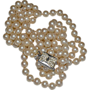 Vendome Glass Pearl Necklace Hand Knotted