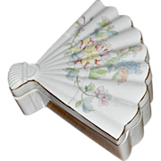 Covered Fan Shaped Dish Porcelain with Flowers
