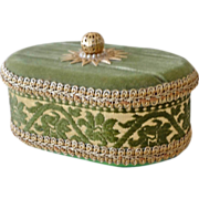 SALE Oval Sewing or Thread Box Hand Decorated