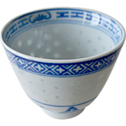 SALE Blue and White Chinese Cup Rice Porcelain