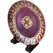 Plate Toyo Oriental Rich Burgundy Gold Wood Stand