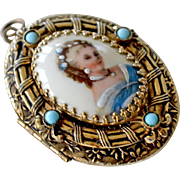 Brass Porcelain Locket Pendant with Turquoise Stones