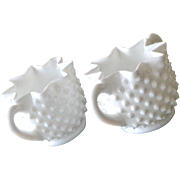 SALE Fenton Hobnail Milk Glass Sugar and Creamer