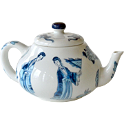 Miniature Teapot Blue and White Franklin Mint