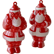 SALE Two Santa Claus Plastic Christmas Tree Ornaments