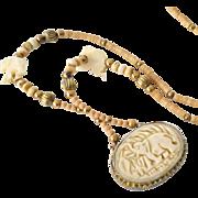 Huge Elephant Pendant Bone Necklace 36 Inches