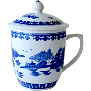 SALE Covered Cup Blue and White Chinese