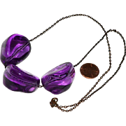 SALE Necklace Huge Purple Lucite Nuggets on Gunmetal Chain